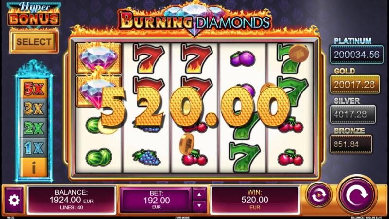 Burning Diamonds :: Multiple winning paylines