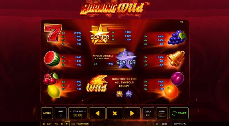Burning Wild :: Paytable