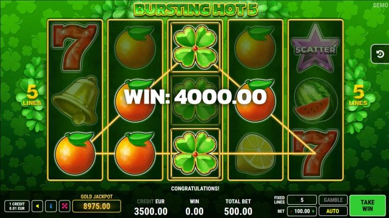 Bursting Hot 5 :: A pair of winning paylines