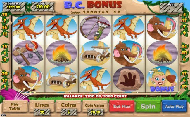 B. C. Bonus :: Main game board featuring five reels and 20 paylines with a $2,500 max payout