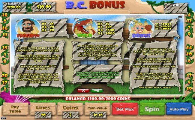 B. C. Bonus :: Freespin, Wild and Bonus Symbols Rules