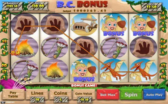 B. C. Bonus :: Three scattered bonus symbols triggers bonus game.