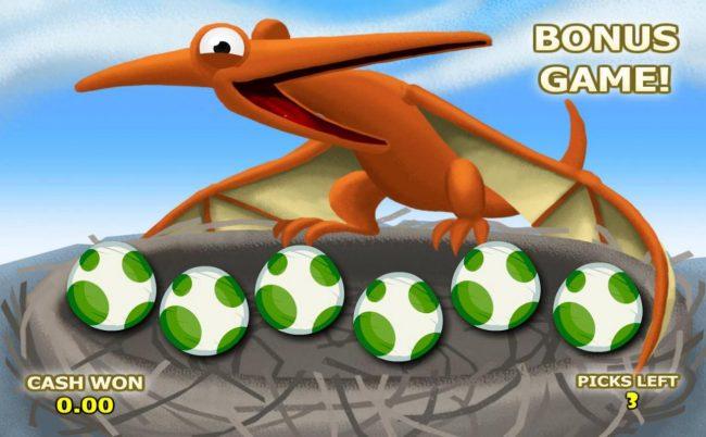 B. C. Bonus :: Pick dinosaur eggs to reveal prize awards.