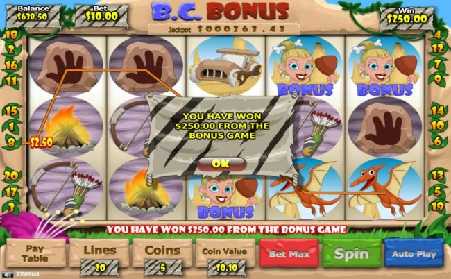 B. C. Bonus :: Bonus features awards a 250.00 cash payout.