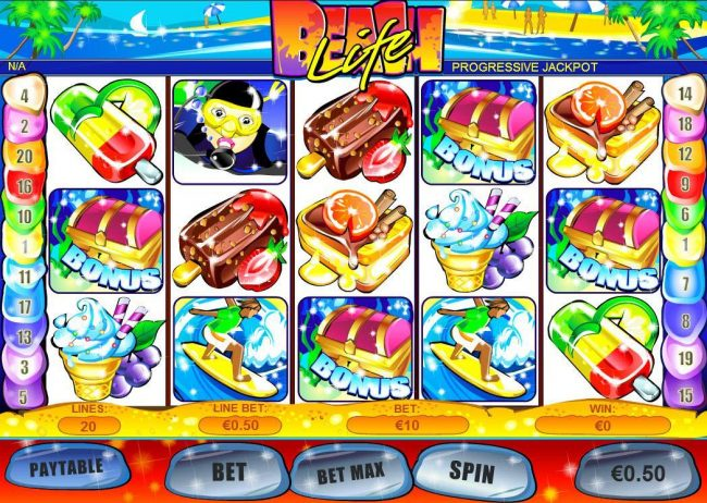 A tropical beach themed main game board featuring five reels and 20 paylines with a $500,000 max payout