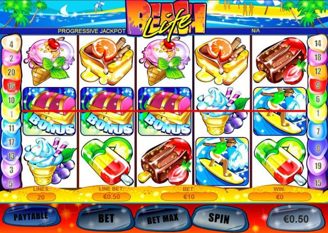 Carnival featuring the Video Slots Beach Life with a maximum payout of $500,000