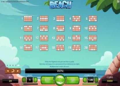 Beach :: payline diagrams