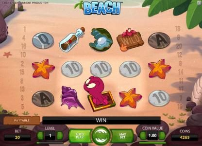 Beach :: octopus wild symbol will look for two possible symbols to swap thus triggering a win