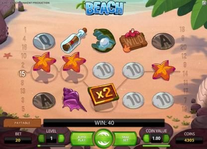 Magik Slots featuring the Video Slots Beach with a maximum payout of $20,000