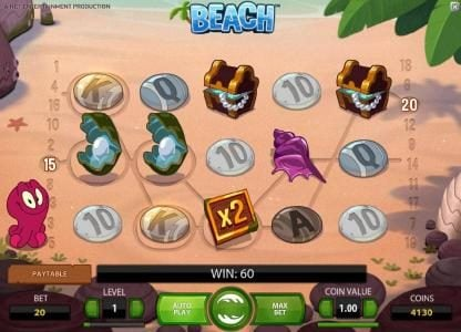 Jackpot Mobile featuring the Video Slots Beach with a maximum payout of $20,000