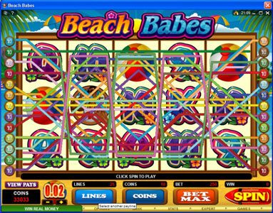 CasinoUK featuring the Video Slots Beach Babes with a maximum payout of $150,000