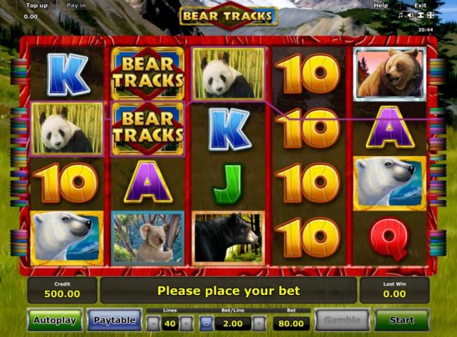 A bear adventure themed main game board featuring five reels and 40 paylines with a $80,000 max payout