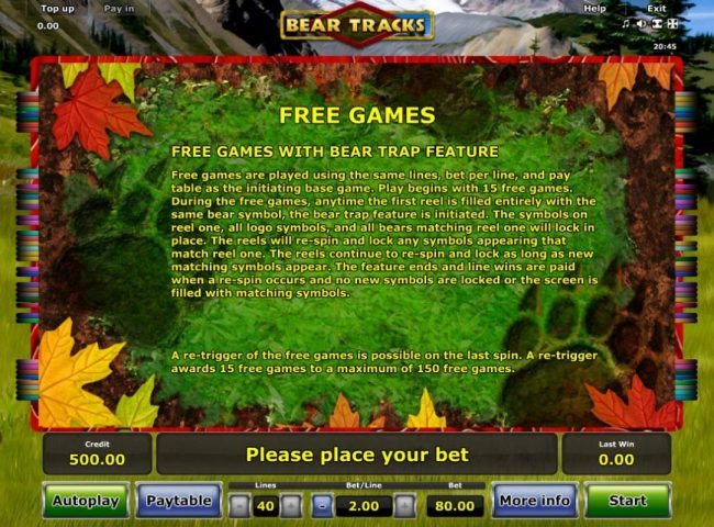 Free Games with Bear Trap Feature Rules