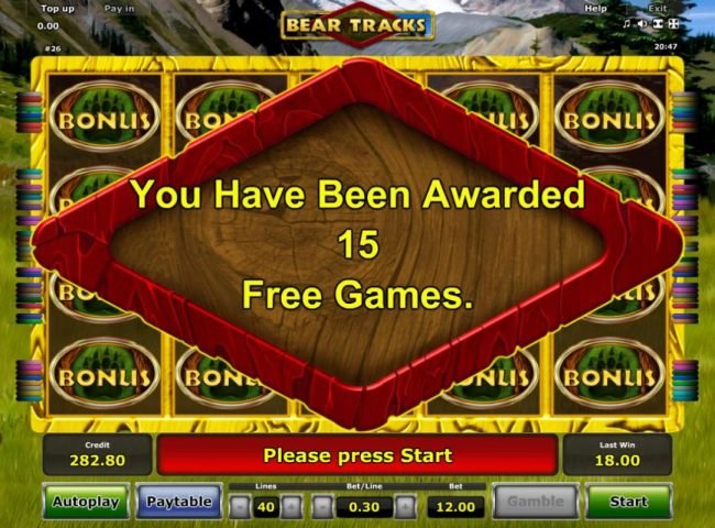 15 Free Spins awarded.