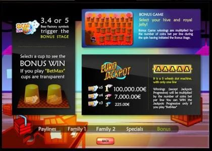 Bear Factory :: euro jackpot, bonus win and bonus game rules