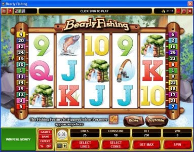Play slots at 21 Jackpots: 21 Jackpots featuring the Video Slots Bearly Fishing with a maximum payout of $72,000