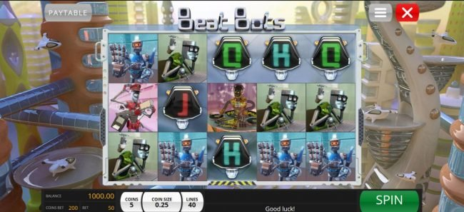 Beat Bots :: Main game board featuring five reels and 40 paylines with a $5,000 max payout.