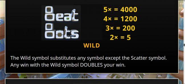 Beat Bots :: Wild Symbol Rules and Pays - Free Spins Bonus