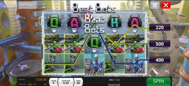 Beat Bots :: An 1120 coin jackpot triggered by multiple winning combinations