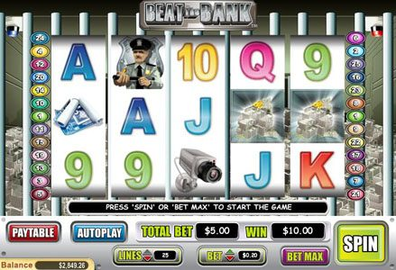 Miami Club featuring the Video Slots Beat the Bank with a maximum payout of $50,000
