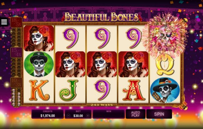 Collect 10 or more skull scatter symbols during normal game play to trigger the Free Spins feature.