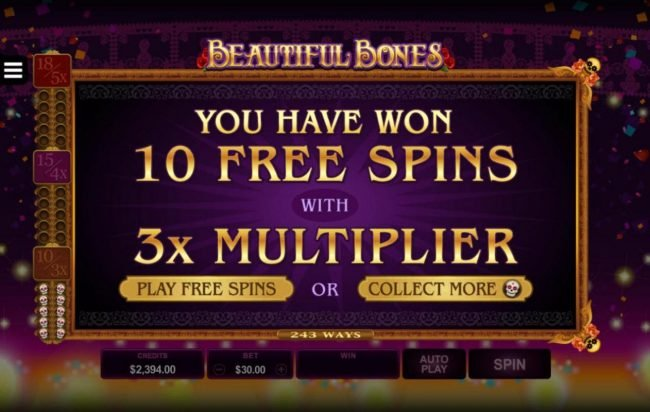 Player has won 10 free games with 3x multiplier, you choose to play or continue to collect more scatter symbols.