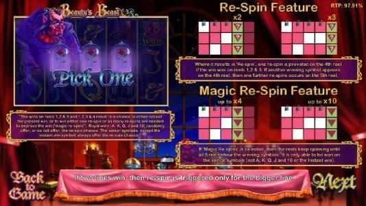 pick one bonus feature and re-spin feature rules