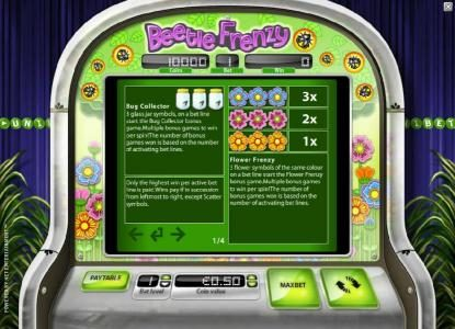 Jellybean Casino featuring the Video Slots Beetle Frenzy with a maximum payout of $2,500
