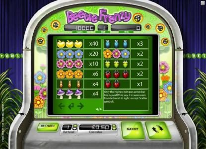Split Aces featuring the Video Slots Beetle Frenzy with a maximum payout of $2,500