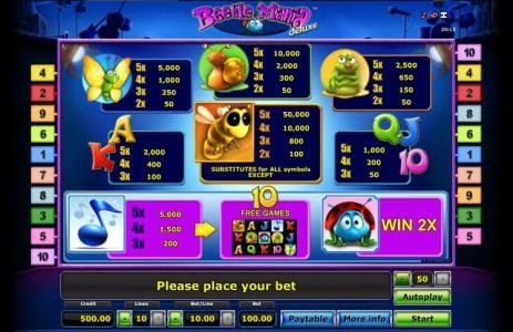 slot game symbols paytable. offering a 10,000 max pay out