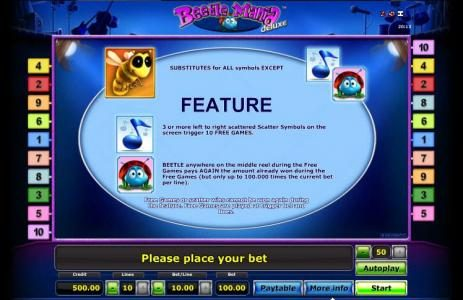 Wild, Scatter and Free Spins feature rules.
