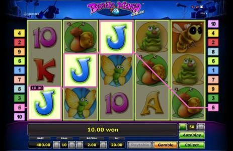 Quasar featuring the Video Slots Beetle Mania with a maximum payout of $50,000