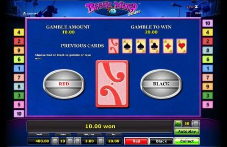 Gamble feature is available after every winning spin. Choose Red or Black to gamble or take win.