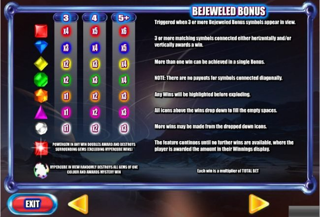 Vegas Baby featuring the Video Slots Bejeweled 2 with a maximum payout of $250,000