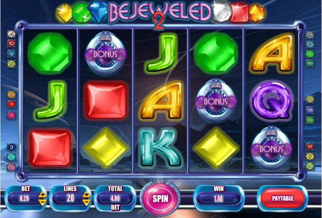 Play slots at Casiplay: Casiplay featuring the Video Slots Bejeweled 2 with a maximum payout of $250,000