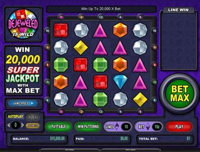 Fruity Vegas featuring the Video Slots Bejeweled with a maximum payout of Jackpot