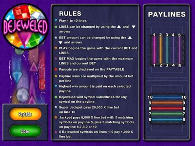 Spintropolis featuring the Video Slots Bejeweled with a maximum payout of Jackpot