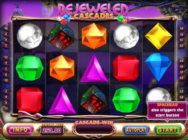 Play slots at Wildz Casino: Wildz Casino featuring the Video Slots Bejeweled Cascades with a maximum payout of $12,750