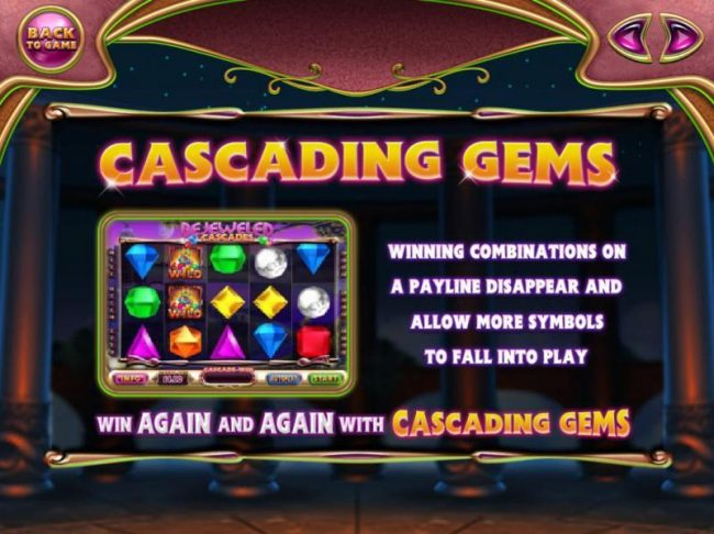 Dream Vegas featuring the Video Slots Bejeweled Cascades with a maximum payout of $12,750