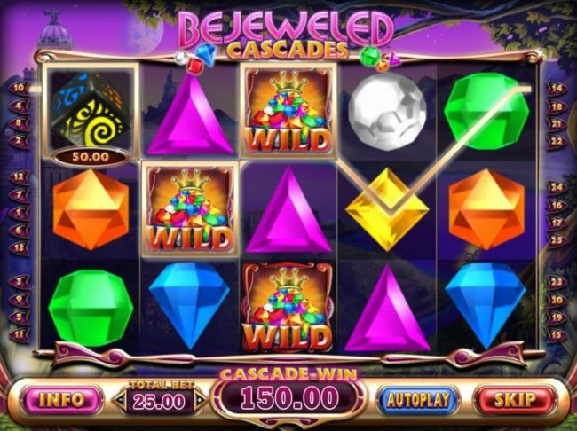 Chomp featuring the Video Slots Bejeweled Cascades with a maximum payout of $12,750