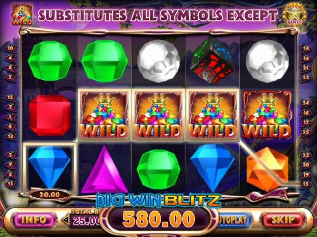 Royal House featuring the Video Slots Bejeweled Cascades with a maximum payout of $12,750