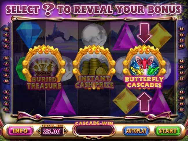Quest Badge selection reveals the Butterfly Cascades, a free spins feature with increasing win multiplier.
