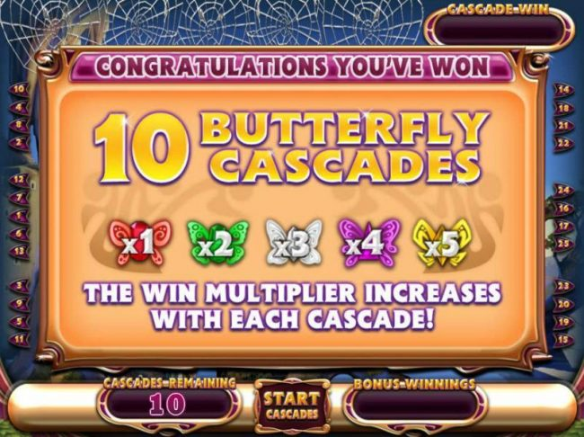 10 Butterfly Cascades Awarded with a win multiplier that increases from x1 to x5 with each cascade!