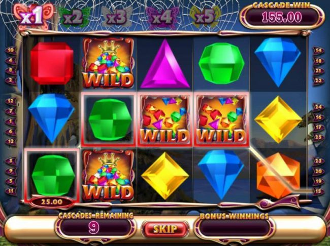 Cheeky Riches featuring the Video Slots Bejeweled Cascades with a maximum payout of $12,750