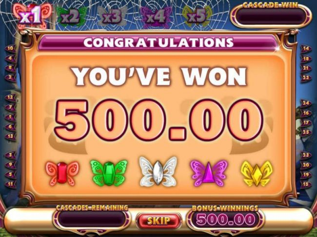 The Butterfly Cascades free spin feature pays out a total of 500.00 for a mega win!