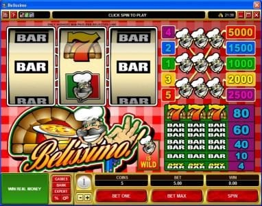 Play slots at Zodiac: Zodiac featuring the Video Slots Belissimo! with a maximum payout of $25,000