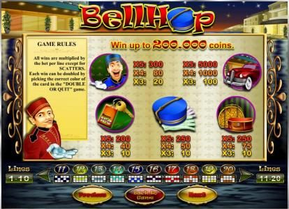 Betive featuring the Video Slots Bell Hop with a maximum payout of $100,000