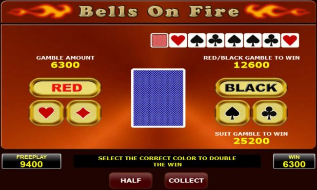 Bells on Fire :: Gamble Feature - To gamble any win press Gamble then select Red or Black or suit
