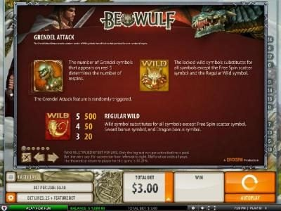 Rizk featuring the Video Slots Beowulf with a maximum payout of $5000.00