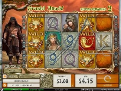 Rose Slots featuring the Video Slots Beowulf with a maximum payout of $5000.00
